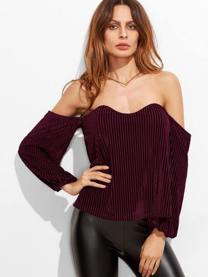 Burgundy Off The Shoulder Ribbed Velvet Top