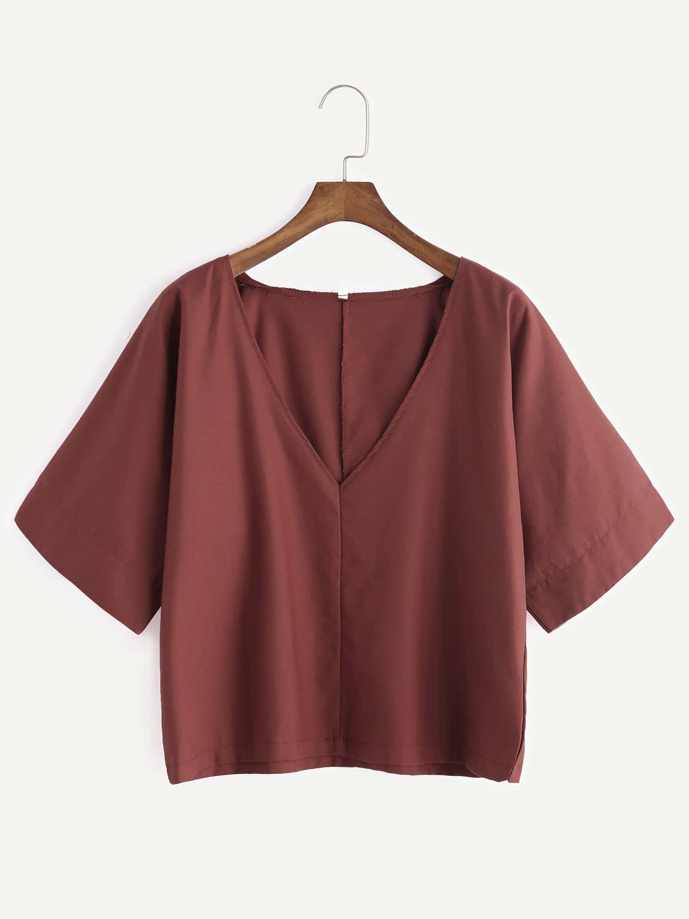 Brick Red V Neck Elbow Sleeve Blouse blouse161216101
