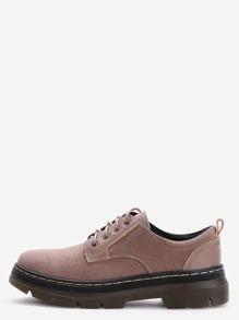 Chaussures en suède à bout rond à lacets -kaki