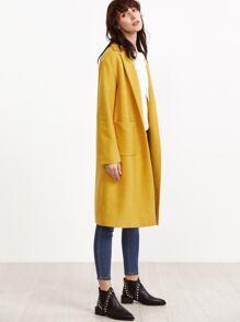 Notch Collar Pocket Front Wool Blended Coat