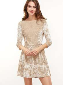 Apricot 3/4 Sleeve Scoop Back A Line Velvet Dress