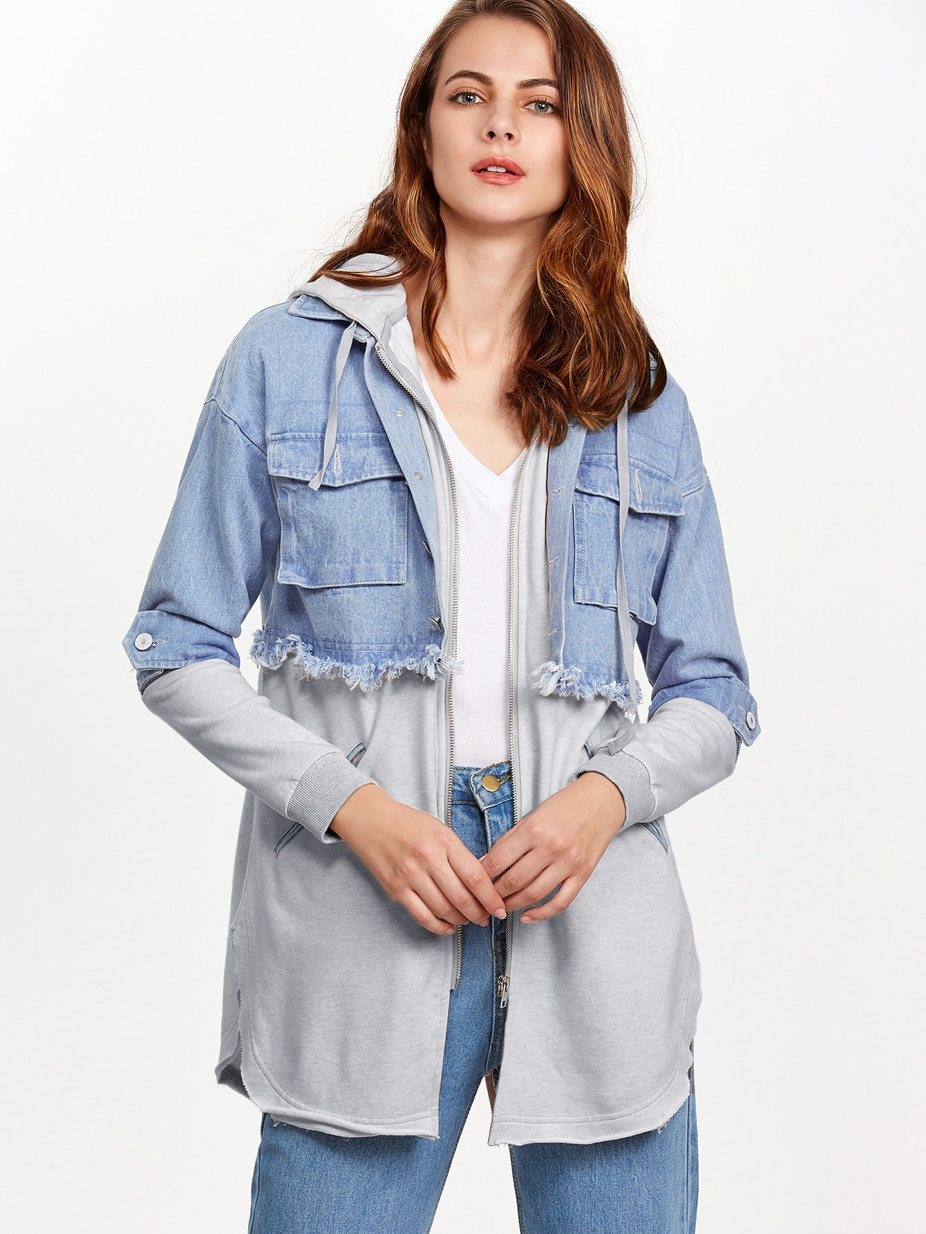 Contrast Split Back Zip Up 2 In 1 Hooded JacketContrast Split Back Zip Up 2 In 1 Hooded Jacket<br><br>color: Grey<br>size: L,M,S,XS