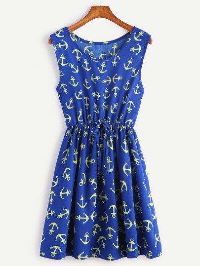 Dark Blue Anchor Print Drawstring Waist Dress