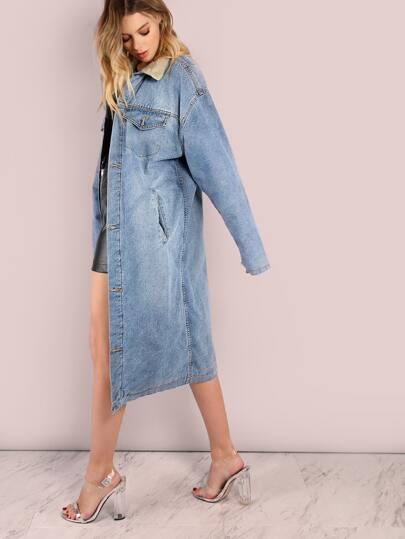 Longline Denim Fur Coat DENIM