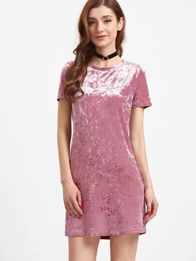 Pink Short Sleeve Velvet Dress