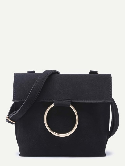 Black Suede Foldover Ring Shoulder Bag