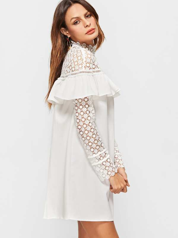 Sheer Embroidered Lace Dress
