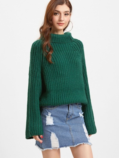 Green Turtleneck Raglan Sleeve Chunky Knit Sweater