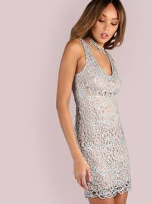 Twisted Metallic Lace Bodycon Dress SILVER