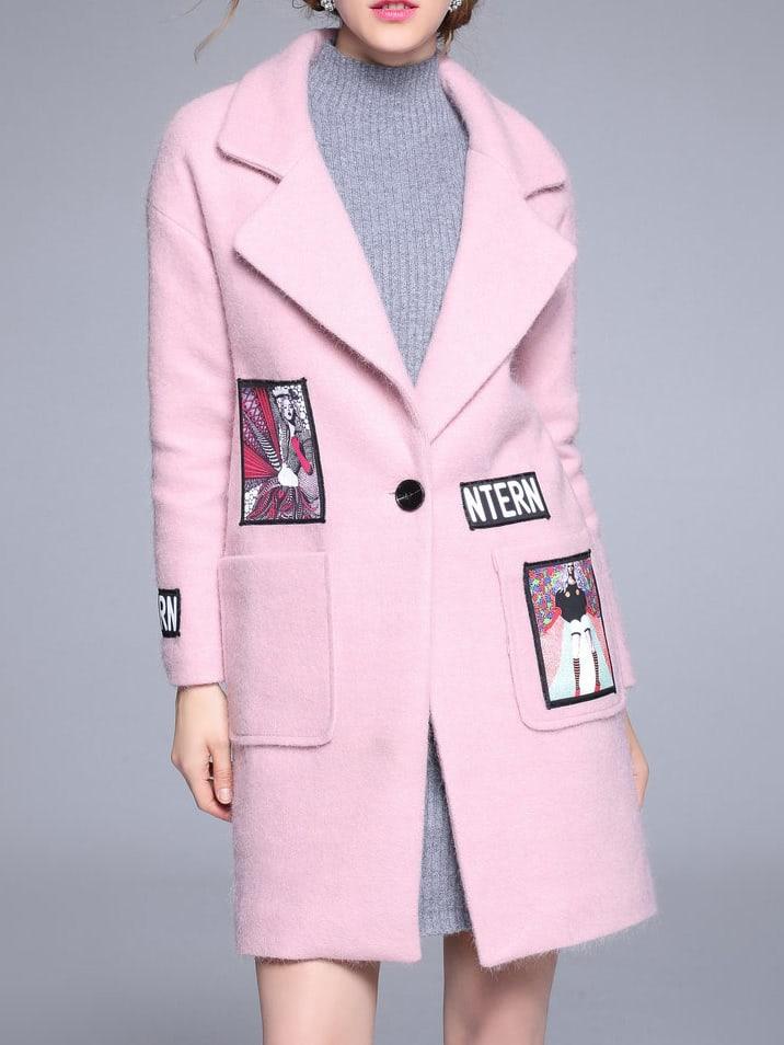 Фото Pink Lapel Applique Pouf Pockets Coat. Купить с доставкой