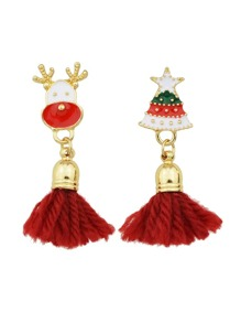 Red Color Christmas Tree Shape Tassel Earrings