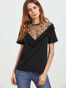 Black Fringe Trim  Embroidered Mesh V Neck T-shirt