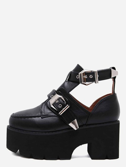 Black PU Buckled Strap Cutout Platform Wedges