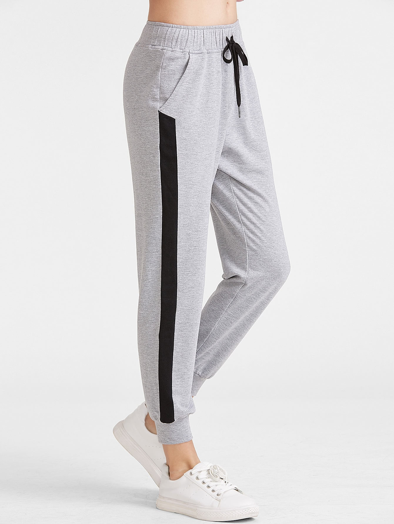 Heather Knit Contrast Panel Drawstring Sweatpants pants161230701