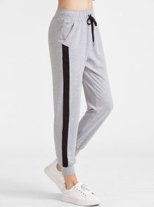 Heather Knit Contrast Panel Drawstring Sweatpants