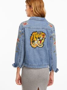 Blue Tiger Embroidery Back Single Breasted Denim Jacket