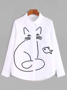 White Cartoon Embroidered Curved Hem Shirt