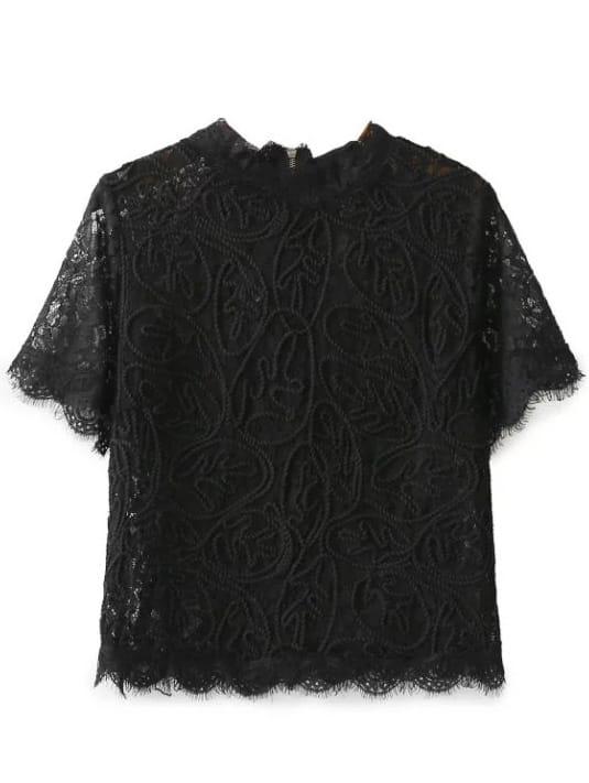 Black Zipper Back Lace Top blouse161207204