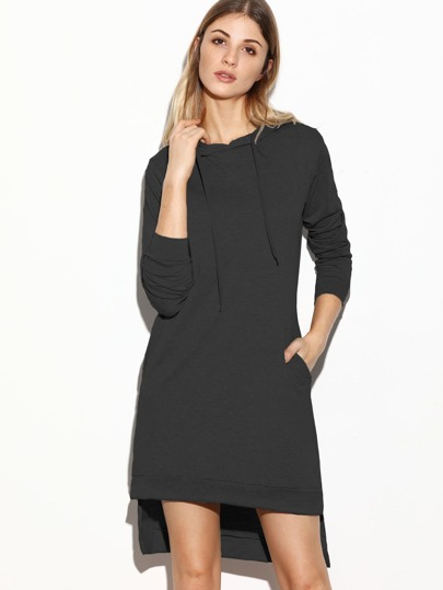 Slit Side Dip Hem Hoodie Dress