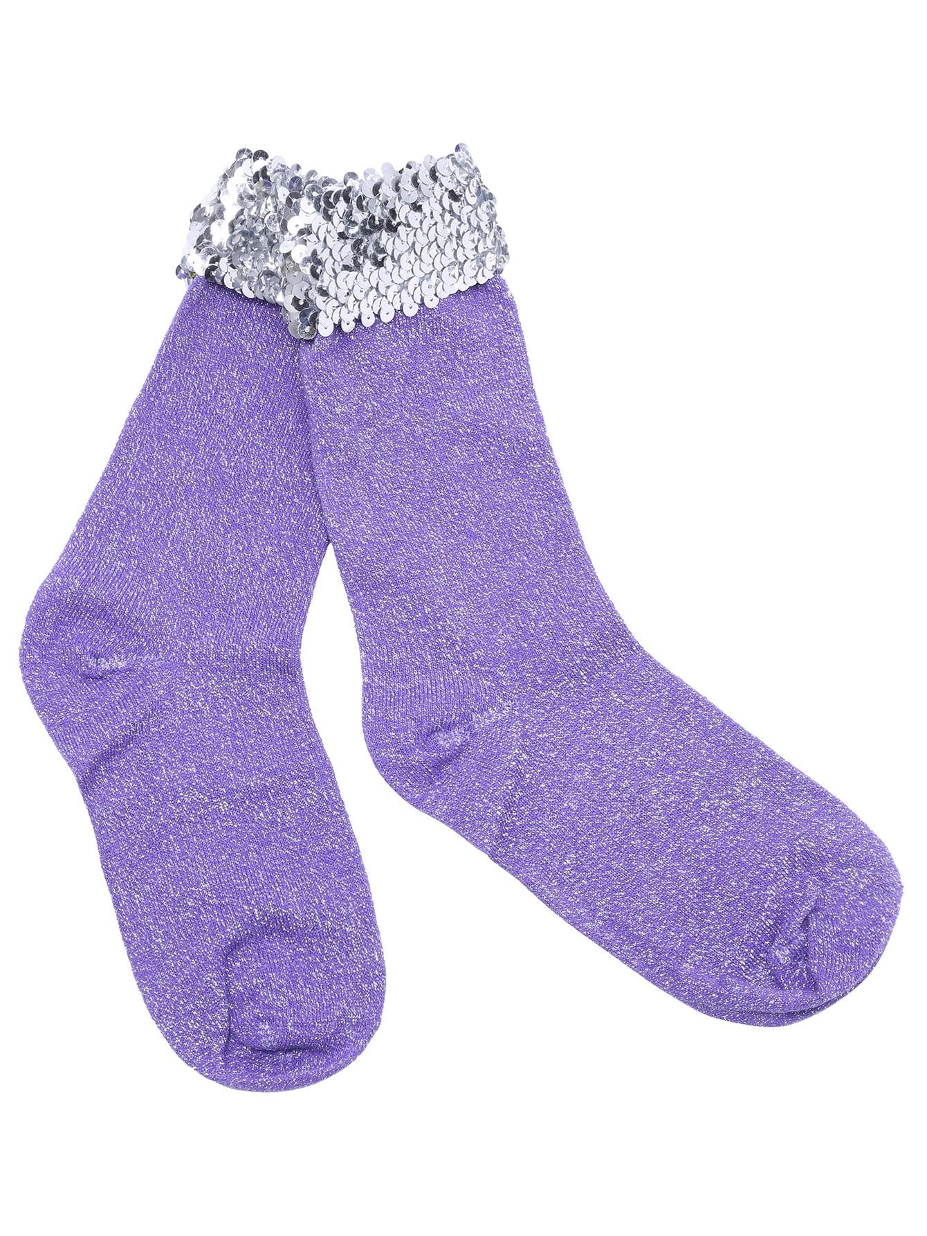 Purple Glitter Sequin Trim Vivi Sock