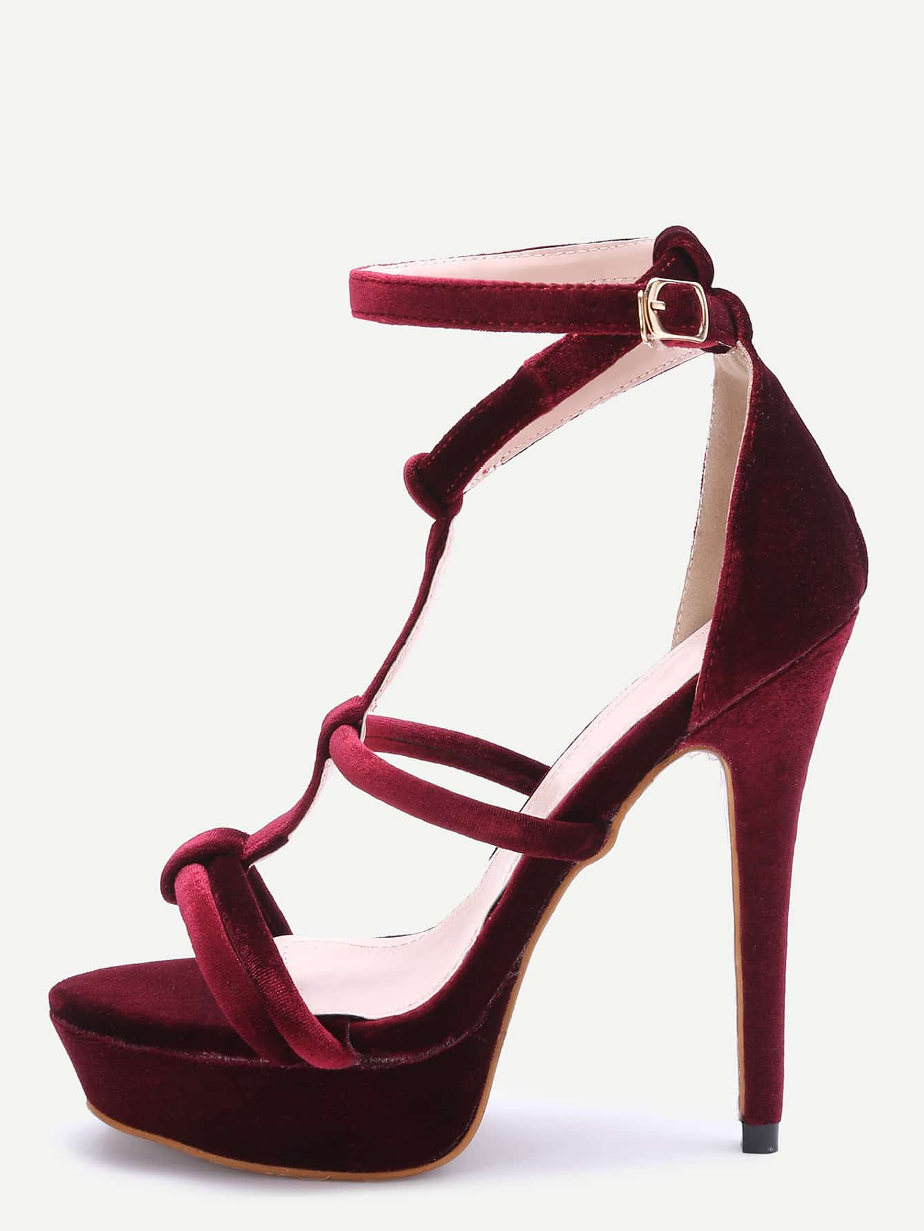 Burgundy Open Toe Strappy Platform Heeled Sandals