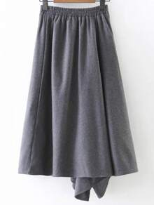 Grey Wide Leg Asymmetrical Pants