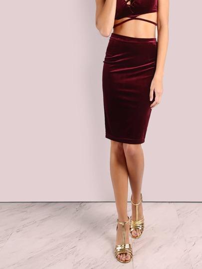Smooth Velvet Criss Cross Bodycon Skirt BURGUNDY