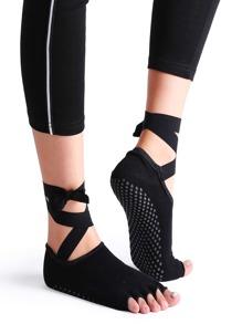 Calze Yoga Con Cinghia Dita Scoperta - Nero
