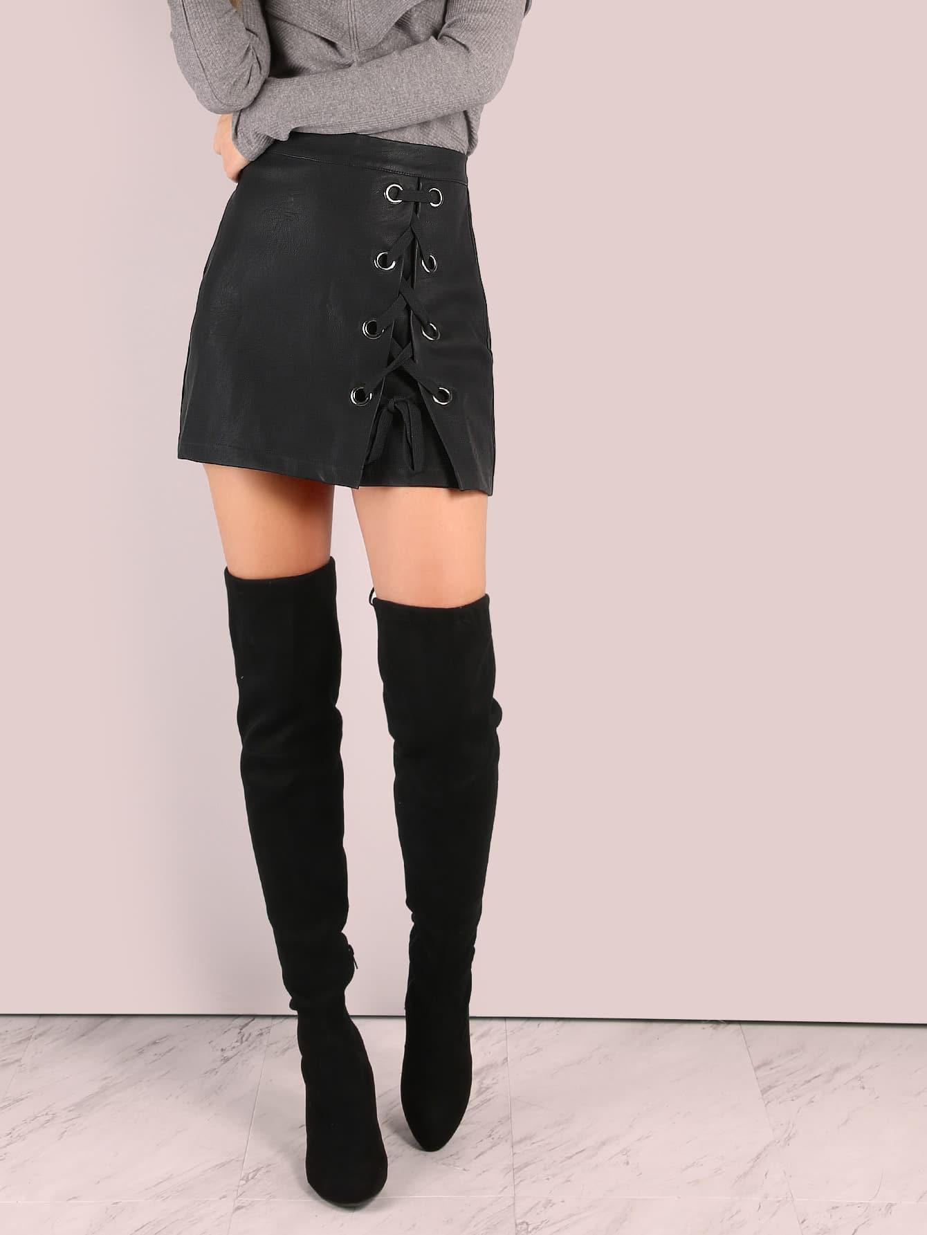 Фото Faux Leather Eyelet Lace Up Mini Skirt. Купить с доставкой