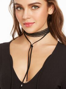 Black Layered Hollow Out Lace String Choker Necklace