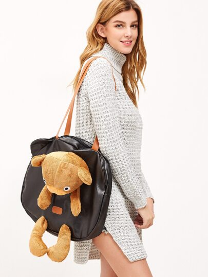 Oversized Black Little Bear Design Zip Around PU Shoulder Bag