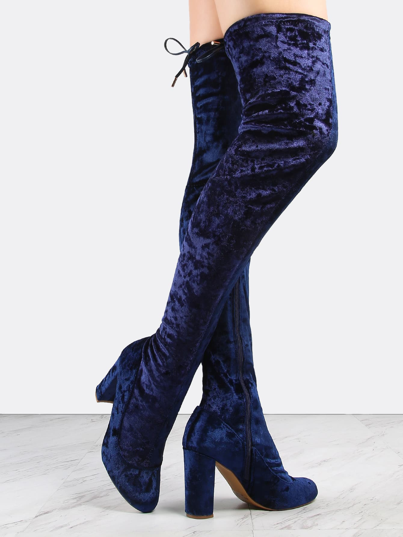 Crushed Velvet Thigh High Boots NAVY -SheIn(Sheinside)