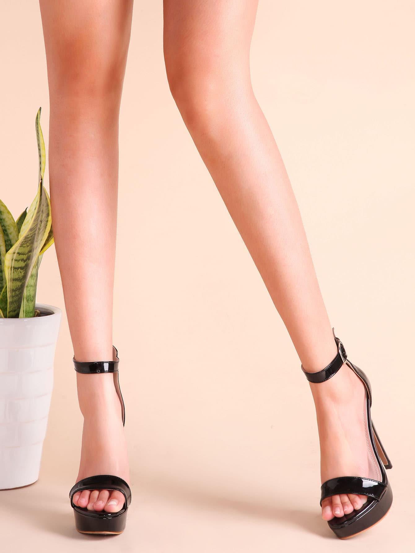Black Patent Leather Ankle Strap Stiletto Heel Sandals shoes161215804