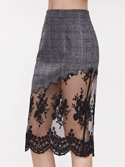 Grey Plaid Embroidered Mesh Trim Slit Back Skirt