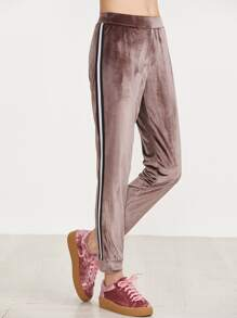 Brown Velvet Sweatpants With Striped Tape Detail