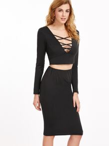 Deep V Neck Lattice Front Crop Top With Skirt