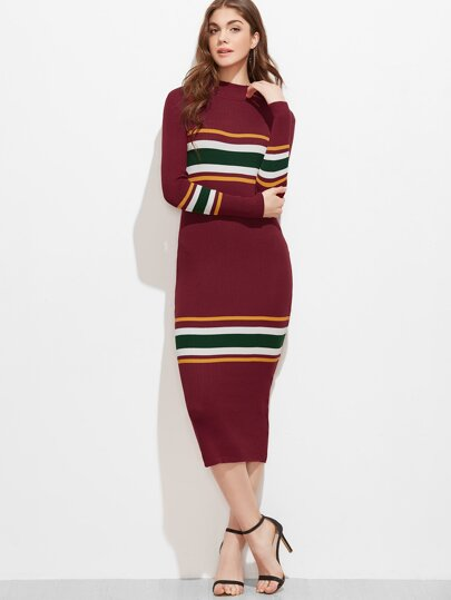 Burgundy Striped Ribbed Sweater Dress -SheIn(Sheinside)