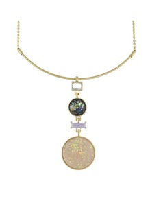 Colorful Round Rhinestone Pendant Necklaces