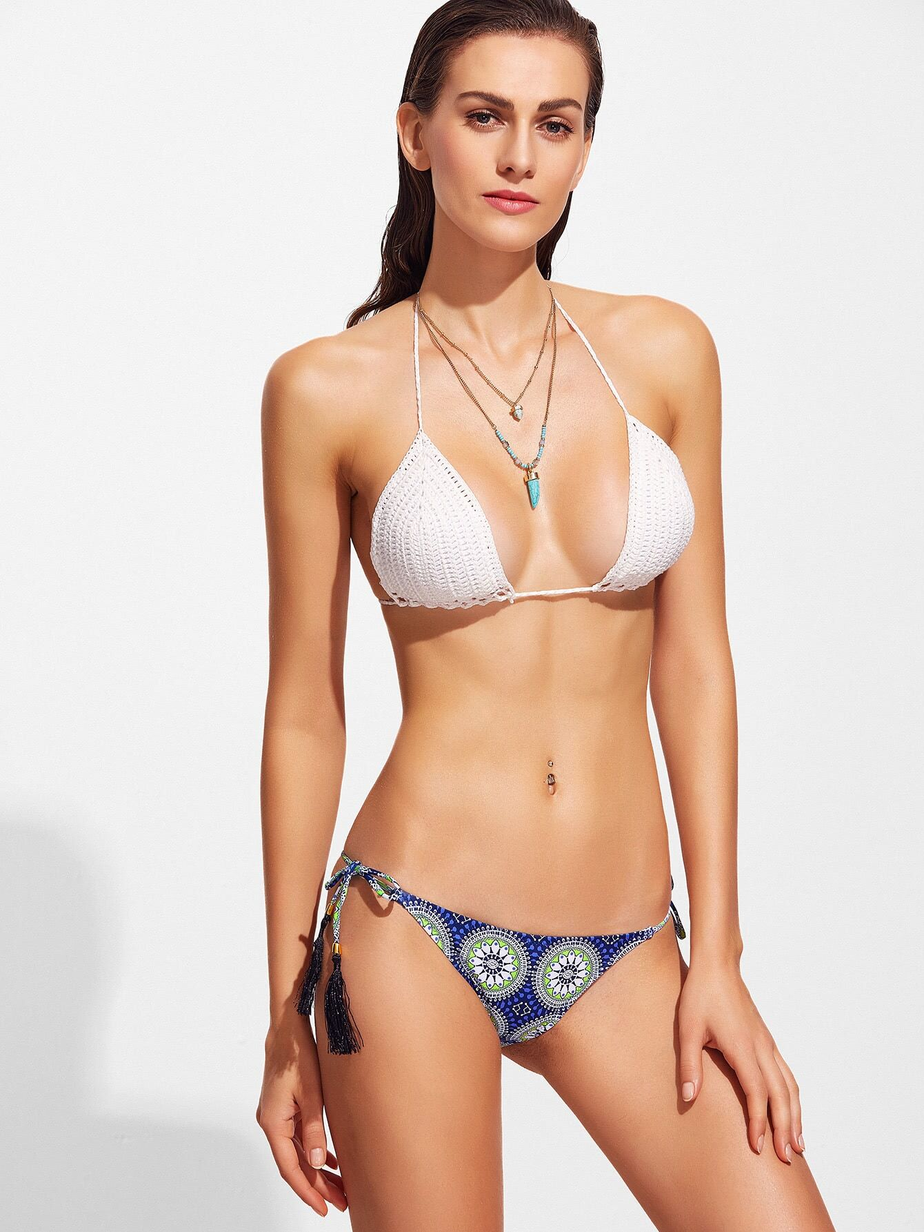 Фото Mandala Print Crochet Bikini Set With Tassel Tie. Купить с доставкой