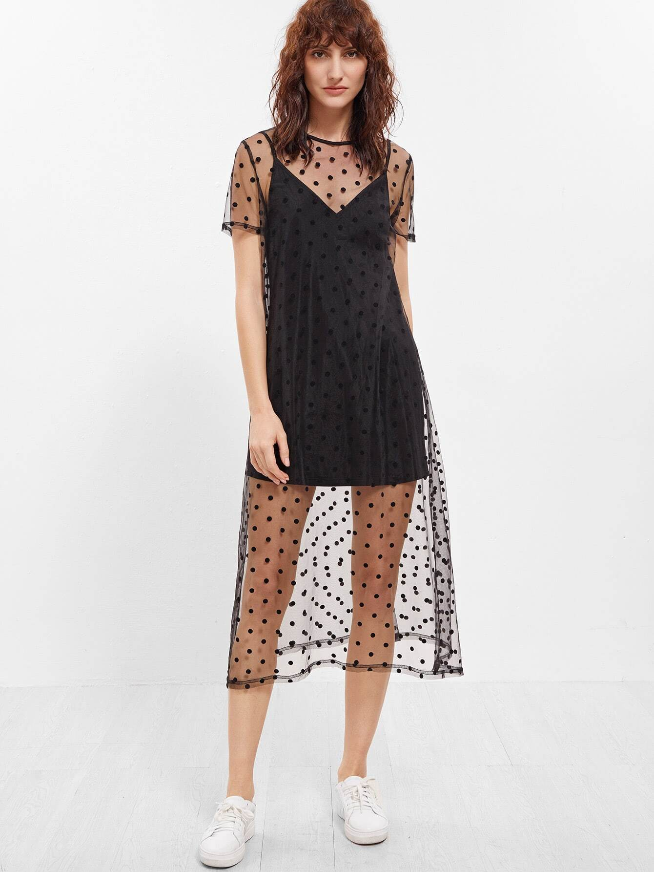 Black Sheer Polka Dot Mesh Short Sleeve Dress With Cami