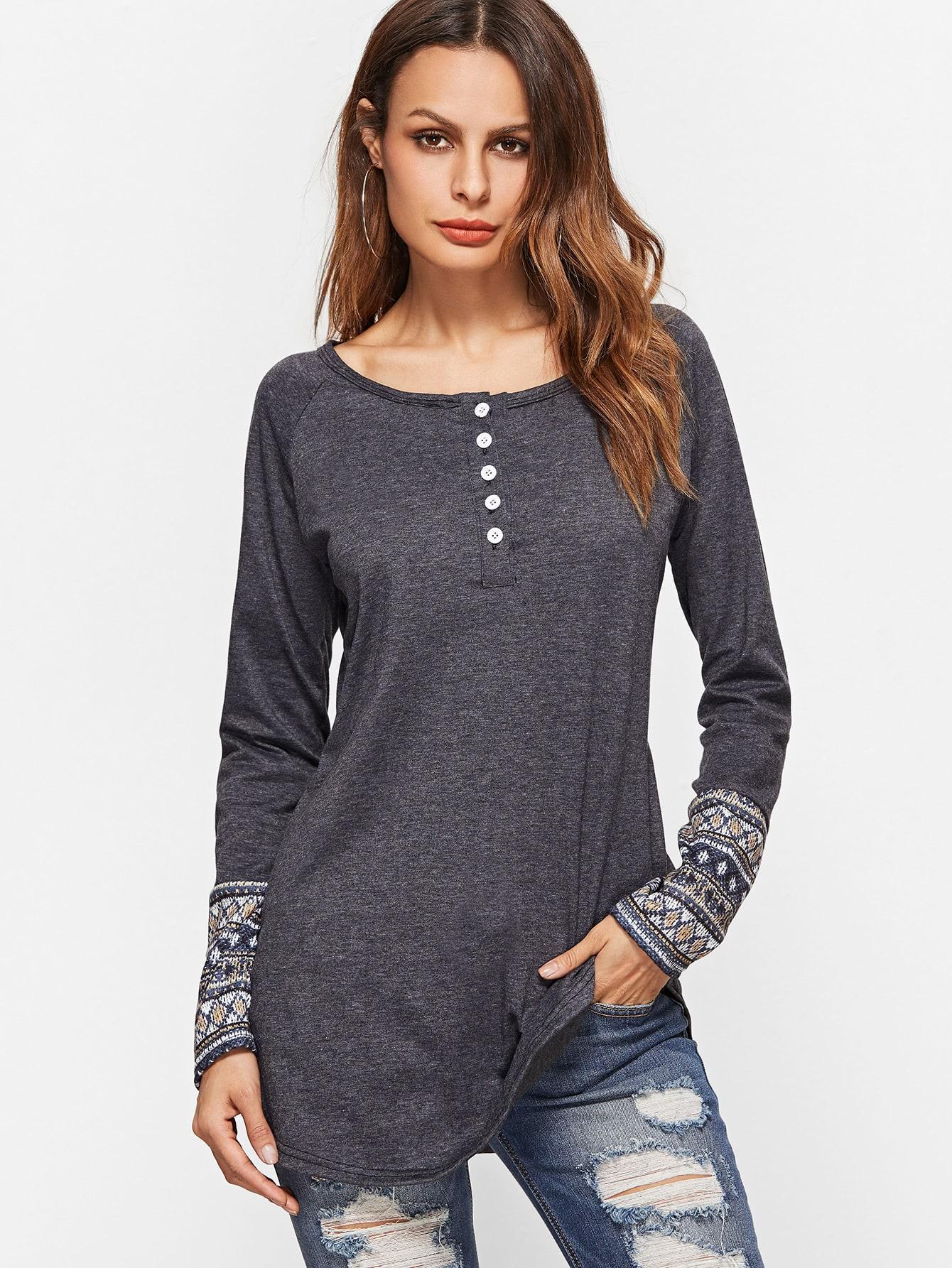 Dark Grey Contrast Tribal Print Cuff Button Front T-shirt grey contrast trim knitted t shirt
