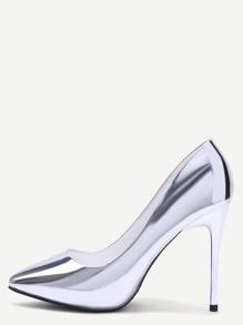 Серебристые кожаные остроносые туфли