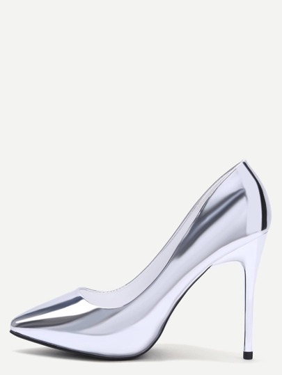 Silver Mirrored PU Point Toe Stiletto Pumps