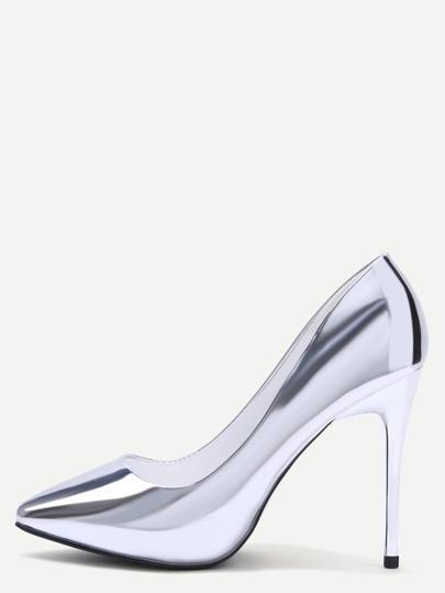 Zapatos de salón de PU en punta - plateado