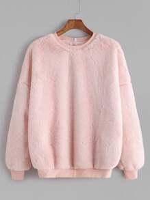 Pink Drop Shoulder Fluffy Fleece Sweatshirt