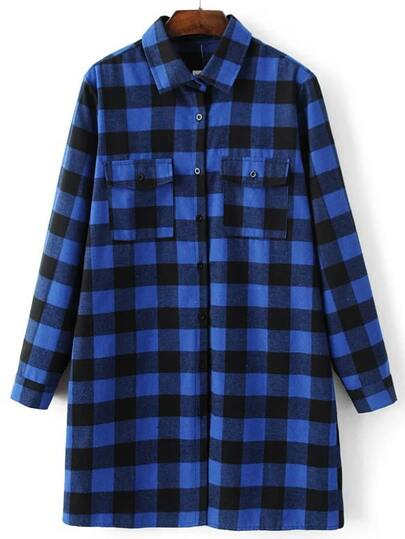 Blue Plaid Longline Blouse With Pocket