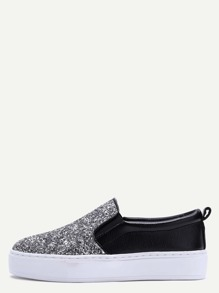 Black and Silver Glitter Sequin Rubber Sole Slip-on Sneakers