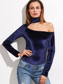 Navy Cutout Asymmetric Shoulder Ribbed Bodysuit