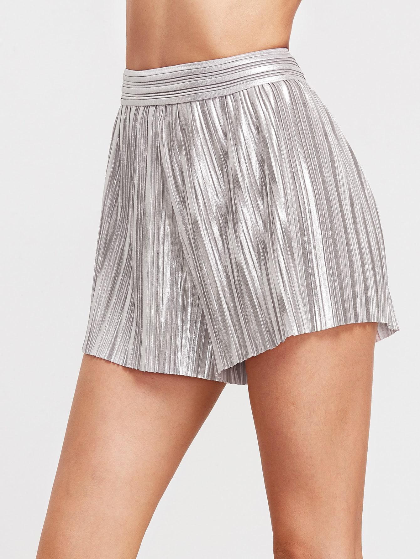 Фото Metallic Silver Elastic Waist Pleated Shorts. Купить с доставкой