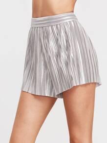 Pantalones cortos plisados con cintura elástica